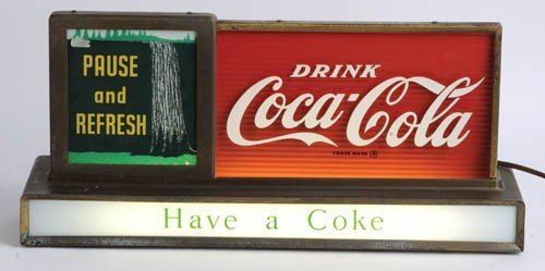 557: 50's Coca-Cola lightup (motion) counter sign