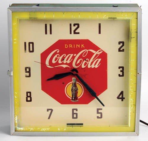 561: 1930's Coca-Cola lightup clock, neon