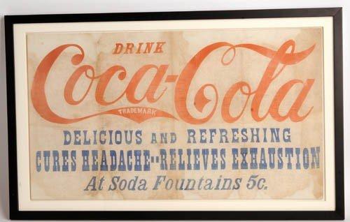 564: Pre-1900 Coca-Cola oil cloth banner