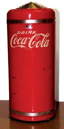 "697: 1950's Coca-Cola ""Superior"" round top garbage can"
