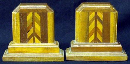 14: PRAIRIE SCHOOL Inlaid Wood Bookends (Pair)
