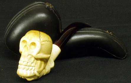 18: CARVED MEERSCHAUM Skull Shaped Pipe