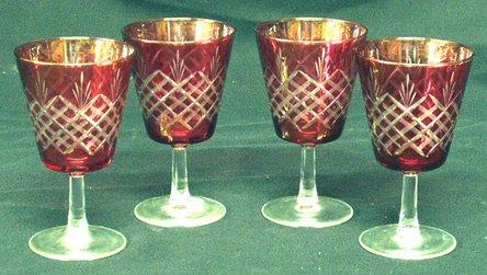 20: FRENCH Cut Crystal Goblets (4)