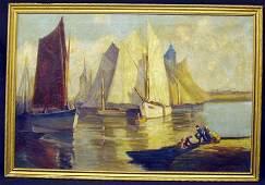 729 AMERICAN SCHOOL Sailboats Harbor Scene
