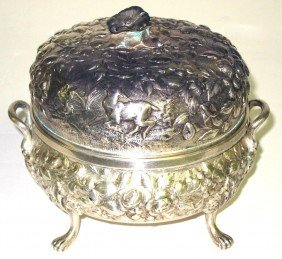 20A: A. E. WARNER STERLING REPOUSSE BUTTER DISH