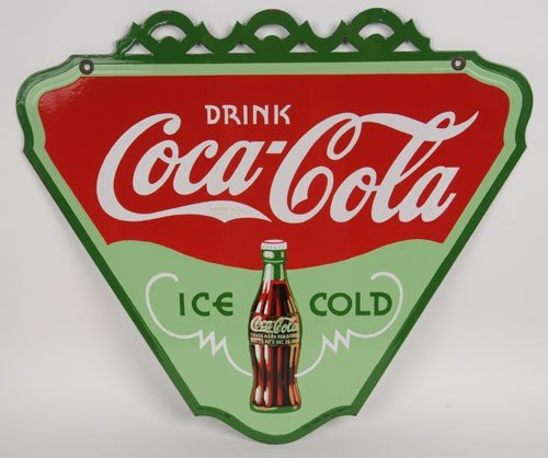 1: 1934 COCA-COLA PORCELAIN 2-SIDED TRIANGLE SIGN