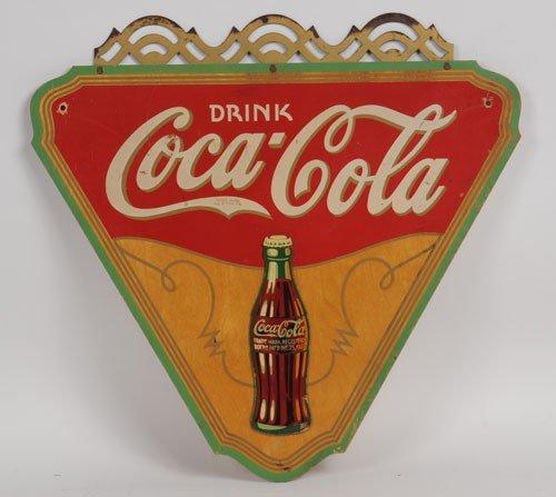4: 1930'S COCA-COLA PLYWOOD TRIANGLE SIGN