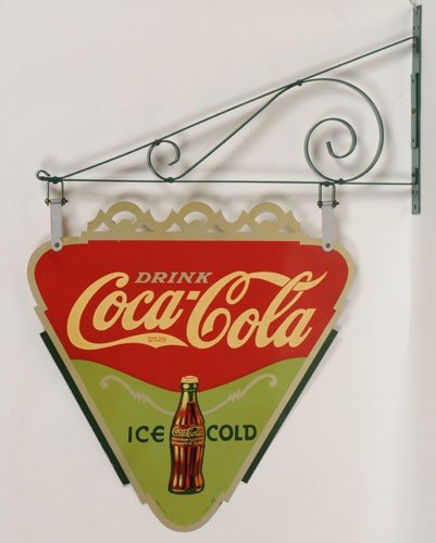 5: 1935 COCA-COLA TWO SIDED TIN TRIANGLE AND BRACKET