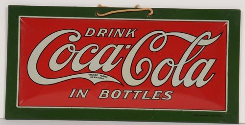 33 '20'S SMALL EMBOSSED TIN OVER CARDBOARD COKE SIGN