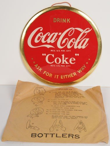 37: 1940'S COCA-COLA CELLULOID SIGN