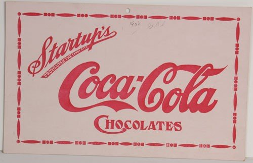 42: STARTUP'S COCA-COLA CHOCOLATES CARDBOARD SIGN
