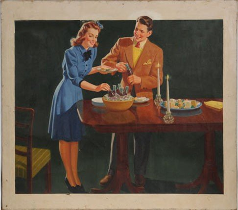 50: COCA-COLA ORIGINAL ART OIL ON CANVAS 1942