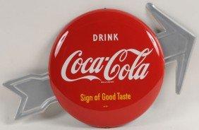 COCA-COLA TIN BUTTON AND ARROW SIGN