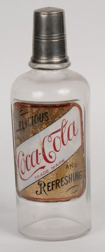 73: EARLY COCA-COLA LABEL UNDER GLASS BACK-BAR BOTTLE