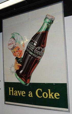 1950 LARGE TIN COCA-COLA SPRITE BOY SIGN
