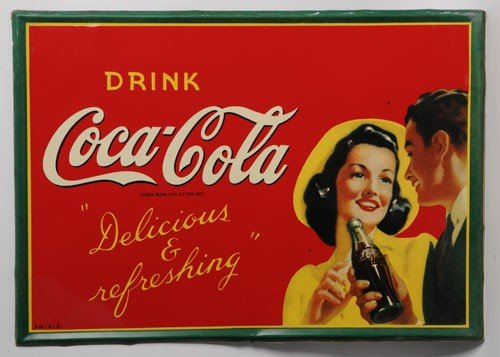 82: 1942 COCA-COLA TIN SIGN