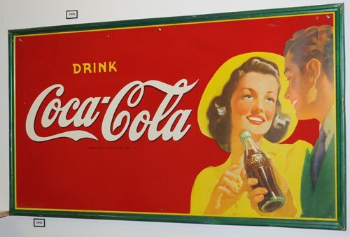 84: 1942 COCA-COLA LARGER TIN SIGN