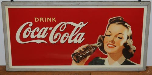 85: EARLY 40'S LARGE OUTDOOR COCA-COLA 2-SIDED SIGN