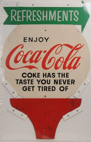 87: 1950'S TO 1960'S COCA-COLA MASONITE CUT-OUT SIGN