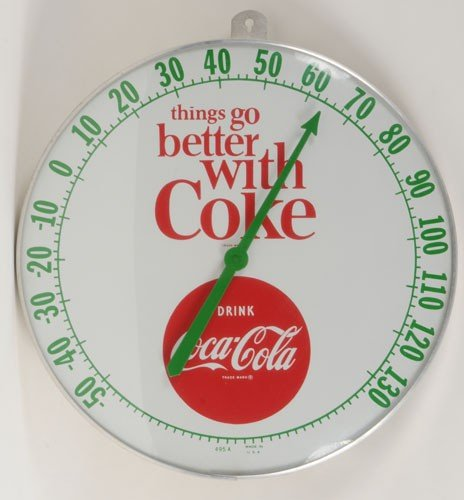 91: 1960'S COCA-COLA LARGE DIAL THERMOMETER