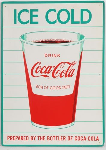 158: 1960's COCA-COLA TIN SIGN WITH CUP