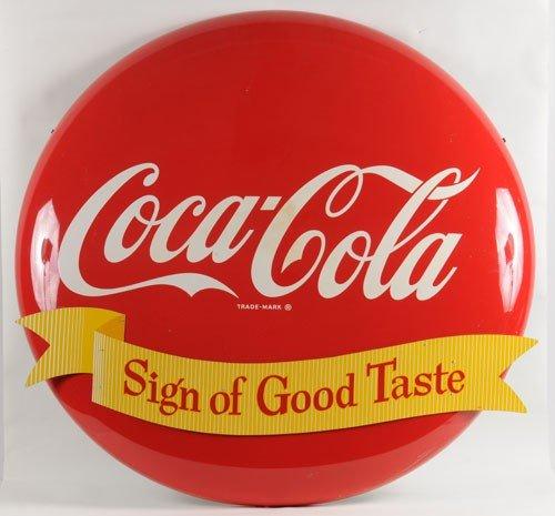 165: COCA-COLA TIN BUTTON & RIBBON SIGN