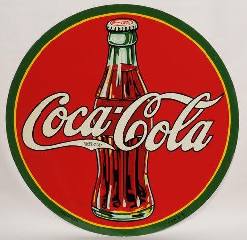 166A: 1938 COCA-COLA LARGE CIRCLE TIN SIGN