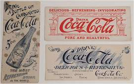 226 3 ASSORTED EARLY COCACOLA INK BLOTTERS