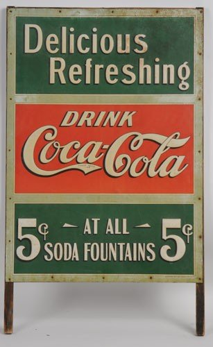 267: EXTREMELY RARE EMBOSSED TIN SIDEWALK SIGN