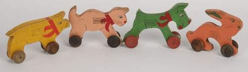 269 SET OF 4 COCACOLA WOODEN PULL TOYS