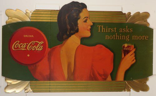407: COCA-COLA 1938 LARGE CARDBOARD CUT-OUT