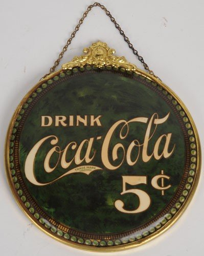 "554: 1902 COCA-COLA 6"" CELLULOID HANGING SIGN"