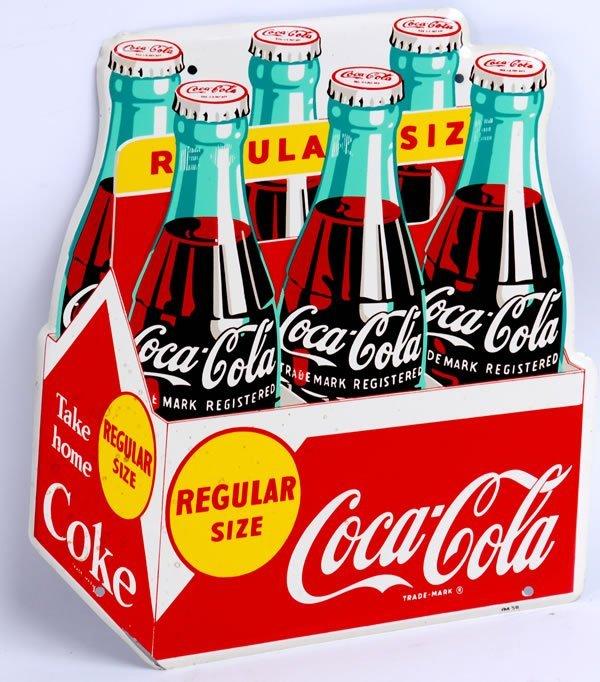 8: 1958 COCA-COLA DIE CUT TIN 6 PACK SIGN