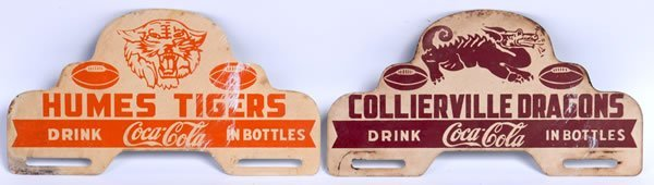 11: PAIR OF COCA-COLA LICENSE PLATE TIN TOPPERS