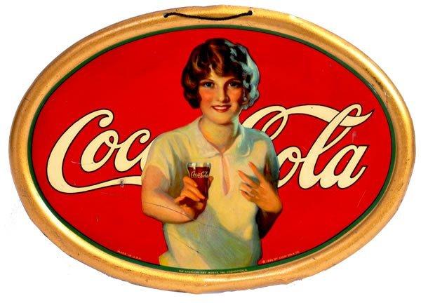 14: 1926 COCA-COLA SMALL TIN OVAL SIGN
