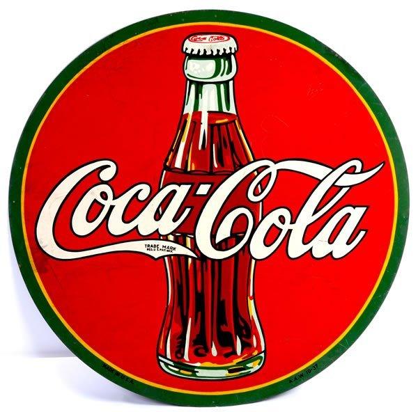 15: COCA-COLA LARGE ROUND TIN SIGN