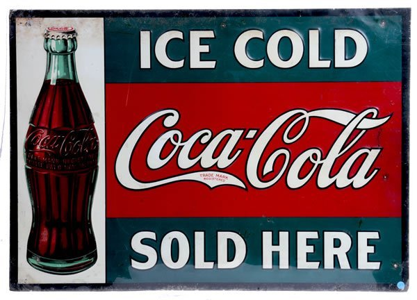 16: COCA-COLA EARLY EMBOSSED TIN SIGN