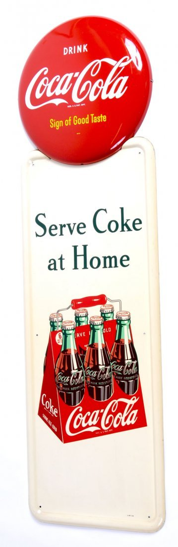 19: 1948 PILASTER & BUTTON TIN COKE SIGNS