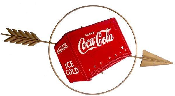 21: LATE 30'S COCA-COLA TIN & METAL COOLER SIGN & ARROW