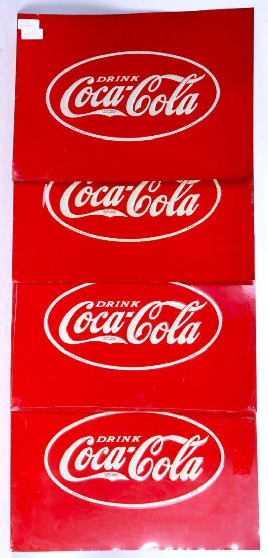 24: SET OF 4 COCA-COLA COOLER PANEL SIGNS