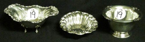19: (3)SMALL STERLING BOWLS & SAUCE DISHES