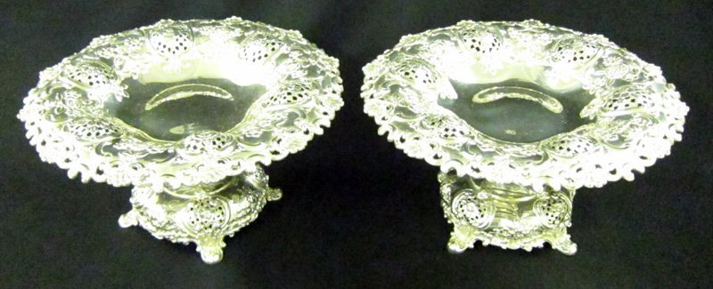 14: PAIR TIFFANY STERLING NEO-CLASSICAL COMPOTES
