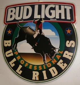 3: BUD LIGHT BULL RIDER TIN SIGN