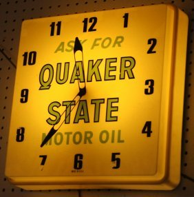 QUAKER STATE LIGHTED CLOCK