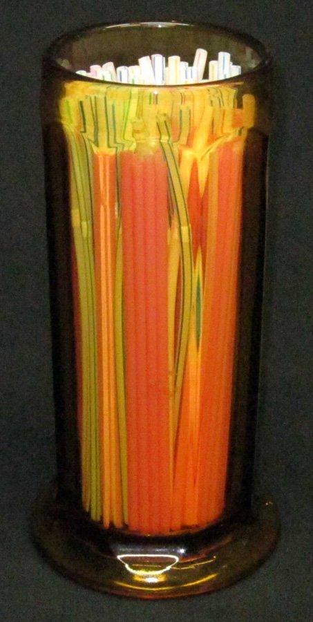 AMBER GLASS STRAW HOLDER