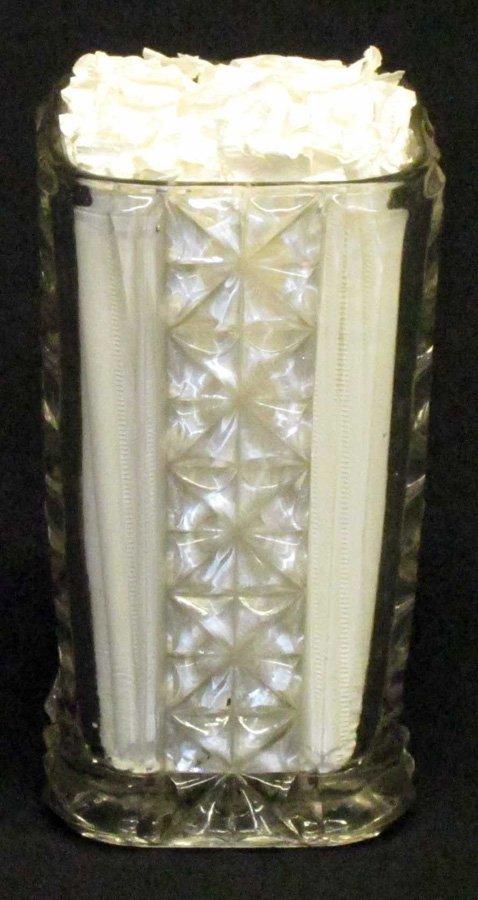 BUTTON TYPE PRESSED GLASS STRAW HOLDER