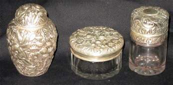 STERLING REPOUSSE DRESSER ITEMS (3)