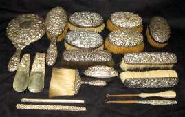 STERLING REPOUSSE DRESSER ITEMS (18)