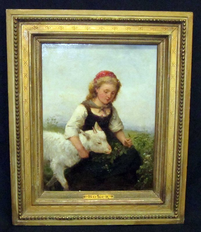 BOKER PAINTING of CHILD with GOAT