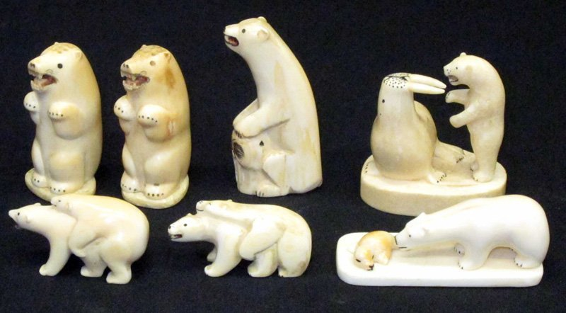 ESKIMO IVORY POLAR BEAR CARVINGS (7)